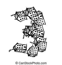 Number three made from houses, vector alphabet design