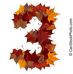 Number three multicolored fall leaf composition isolated