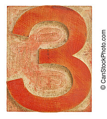 number three - isolated letterpress printing block stained by red ink