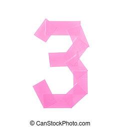 Number three symbol made of insulating tape