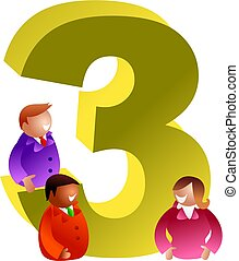 number three - three people with the number 3