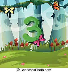 Number three with 3 butterflies in garden