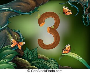 Number three with 3 butterflies in the garden