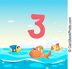 Number three with 3 fish in the ocean