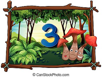 Number three with 3 mushrooms in the forest