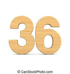 Number thrity six on white background. Isolated 3D illustration