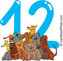 number twelve and 12 dogs - cartoon illustration with number...