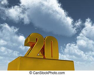 number twenty - the number twenty - 20 - in front of blue...