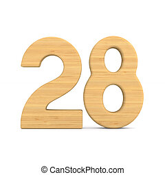 Number twenty eight on white background. Isolated 3D illustration