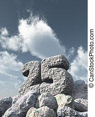 number twenty five rock under cloudy blue sky - 3d...