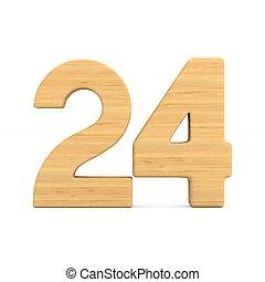 Number twenty four on white background. Isolated 3D illustration