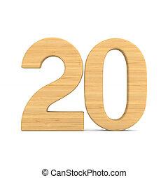 Number twenty on white background. Isolated 3D illustration