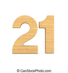 Number twenty one on white background. Isolated 3D illustration