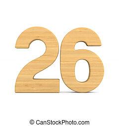 Number twenty six on white background. Isolated 3D illustration