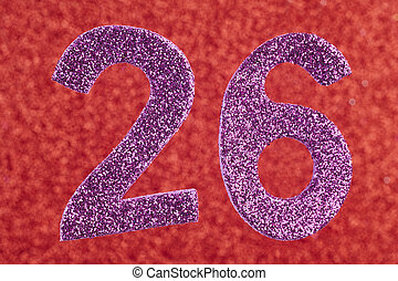 Number twenty-six purple over a red background. Anniversary....