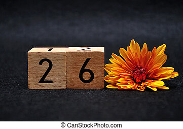 Number twenty six with an orange daisy on a black background
