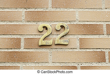 Number twenty two on a wall