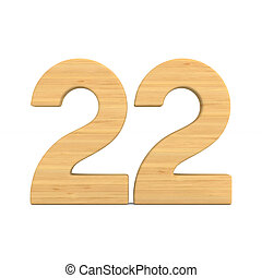 Number twenty two on white background. Isolated 3D illustration