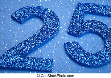 Number twentyfive blue color over a blue background. Anniversary. Horizontal