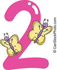 number two and 2 butterflies - cartoon illustration with...