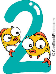 number two and 2 fish - cartoon illustration with number two...
