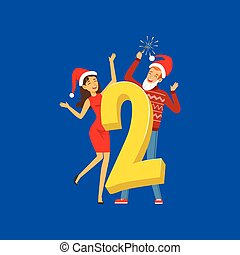 Number Two and people in red hats celebrating New Year vector illustration