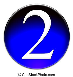 Number two glassy button