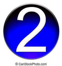 Number two glassy button - Number 2 Arial font type on a ...