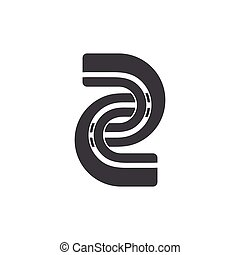 number two linked chain logo vector