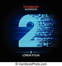 Number two logo vector technology design