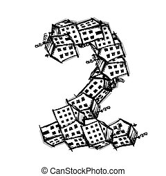 Number two made from houses, vector alphabet design