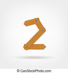 Number two made from wooden boards for your design