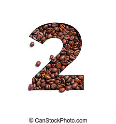 Number two made of coffee beans and paper cut in shape of second numeral isolated on white. Typeface for coffee store