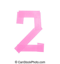 Number two symbol made of insulating tape