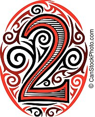number two tattoo tribal design