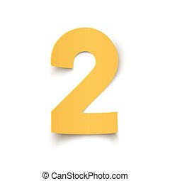 Number two yellow, abstract design isolated on white.