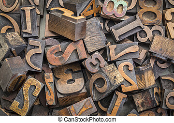 number wood type blocks background