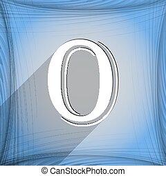 number zero icon symbol Flat modern web design with long...