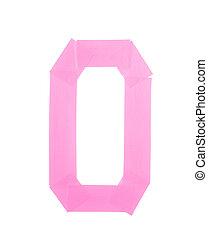 Number zero symbol made of insulating tape