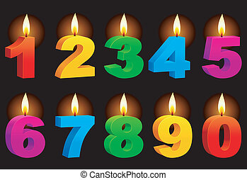 Numbered candles. - Set of 10 numbered color candles.