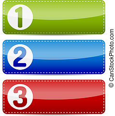 Numbered color step list infographics banner template with shadow on white background.
