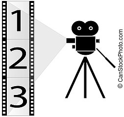numbered film strip and movie camera with lights