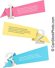 Numbered list template - origami labels with copyspaces...