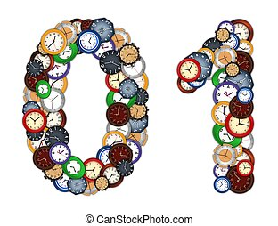 Numbers 0 and 1 made of various clocks