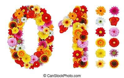 Numbers 0 and 1 made of various flowers. Standalone design...