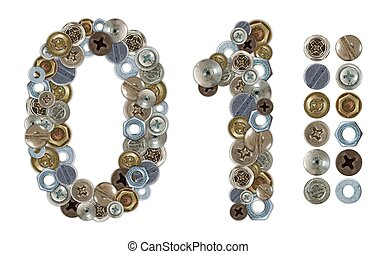 Numbers 0 and 1 made of various screw heads