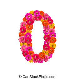 Numbers 0 made from Zinnias flowers