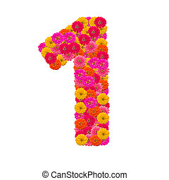 Numbers 1 made from Zinnias flowers