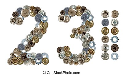 Numbers 2 and 3 made of various screw heads