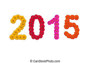 Numbers 2015 made from Zinnias flowers
